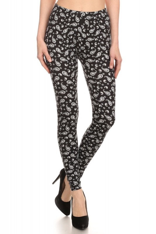 Black White Paisley Leggings - orangeshine.com