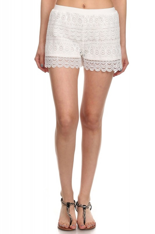 Womens Lace Shorts White - orangeshine.com