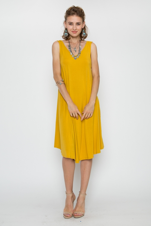 BAMBOO SOLID SLVLESS DRESS - orangeshine.com