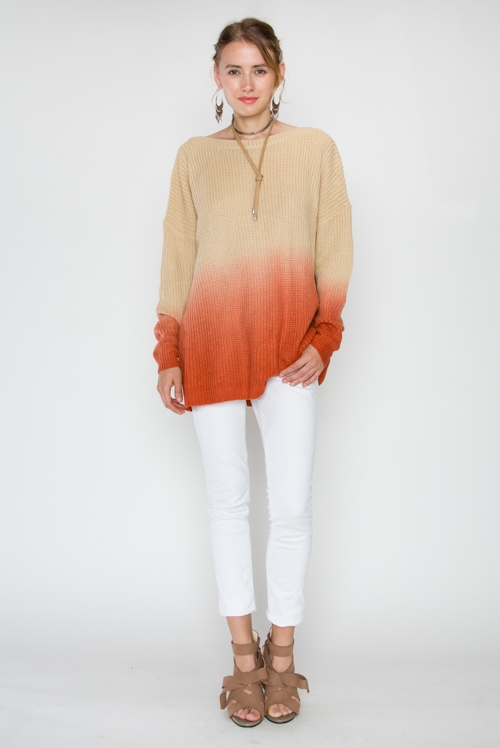OMBRE LONG SLEEVE SWEATER - orangeshine.com