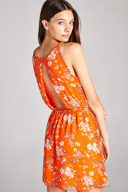 FLORAL DRESS WITH CUT-OUT BACK - orangeshine.com