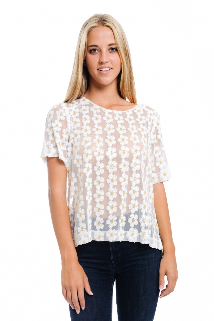 white sequin daisy top - orangeshine.com