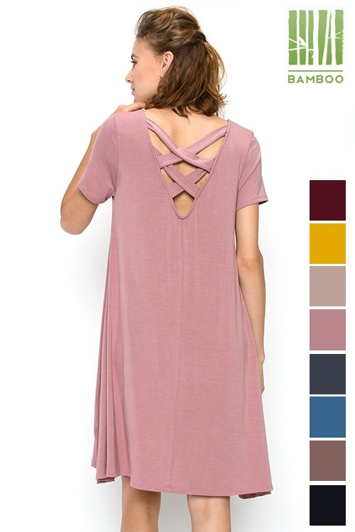 BAMBOO CROSS BACK DETAIL DRESS - orangeshine.com