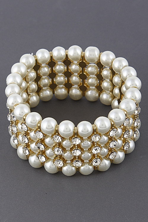 Formal Faux Pearl Bracelet - orangeshine.com