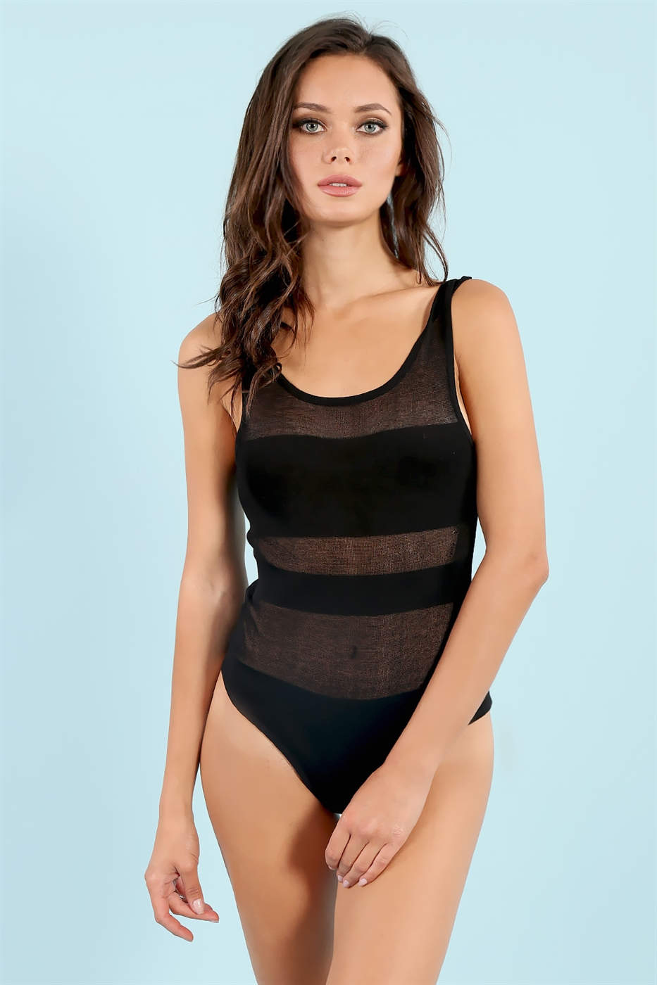 Sheer Round Neck Bodysuit - orangeshine.com