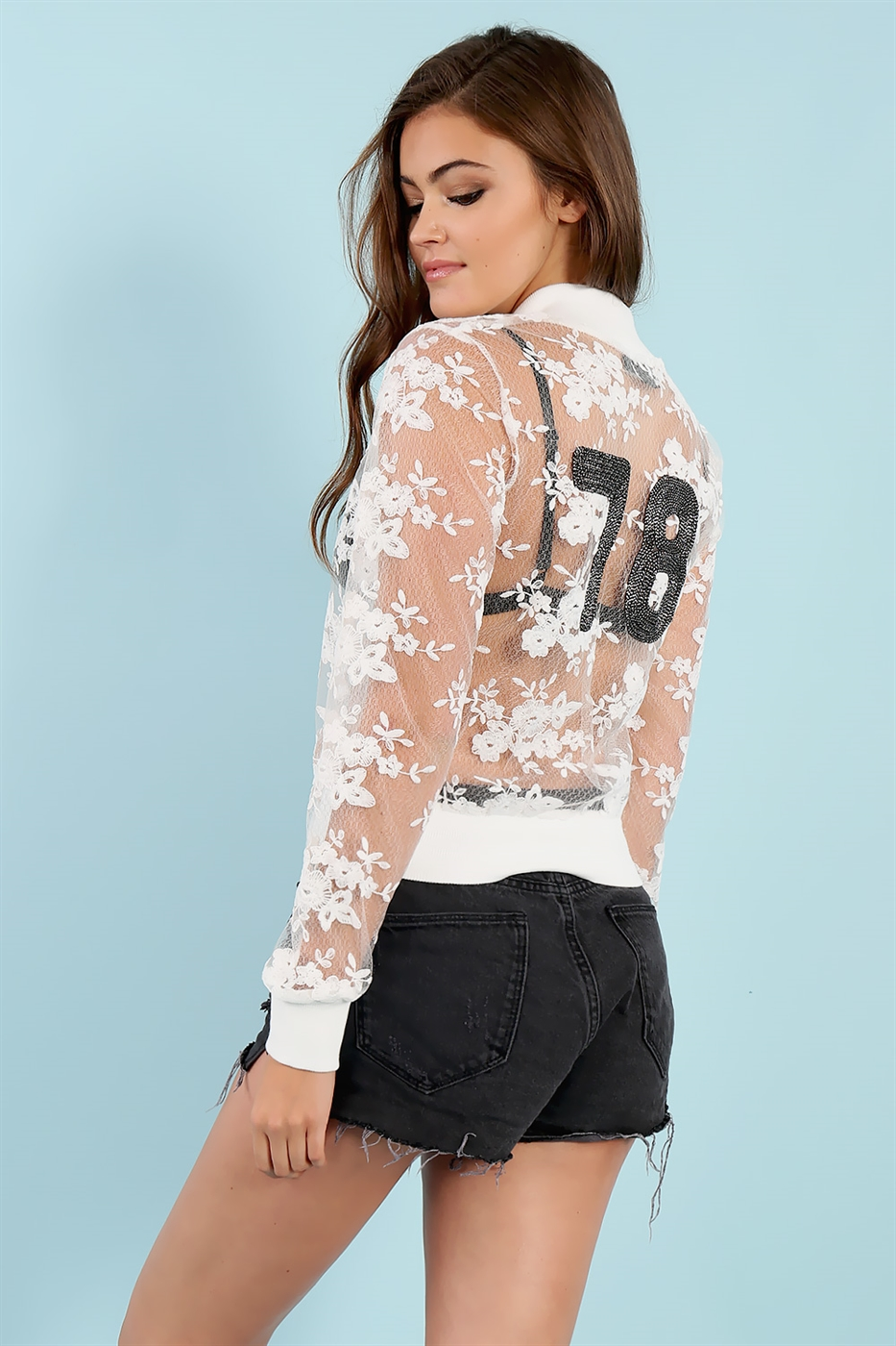 See Through Floral Jacket - orangeshine.com