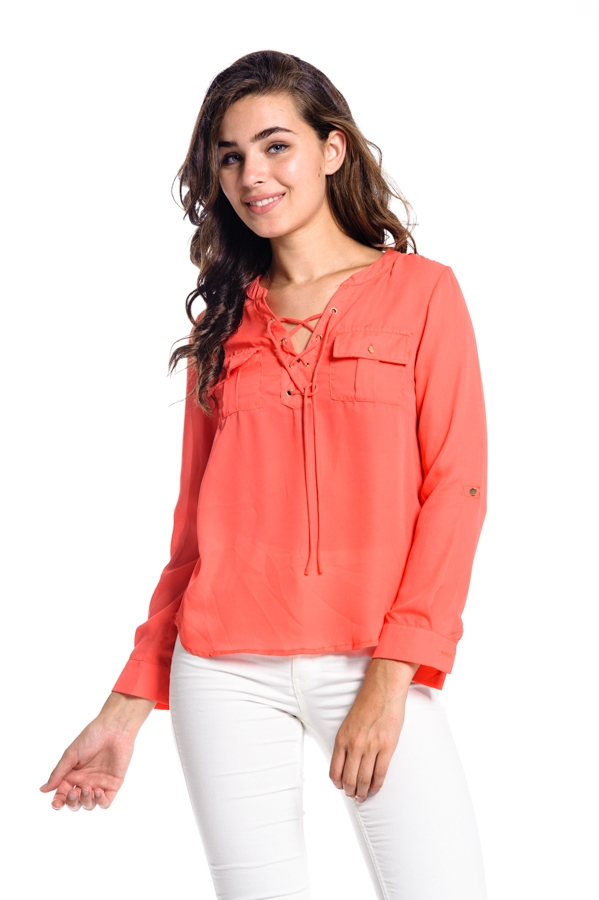 LONG SLEEVE T-SHIRT WITH POCKT - orangeshine.com