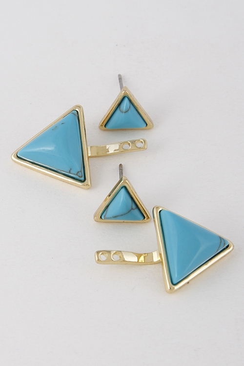 Simple Triangle Stone Earrings - orangeshine.com
