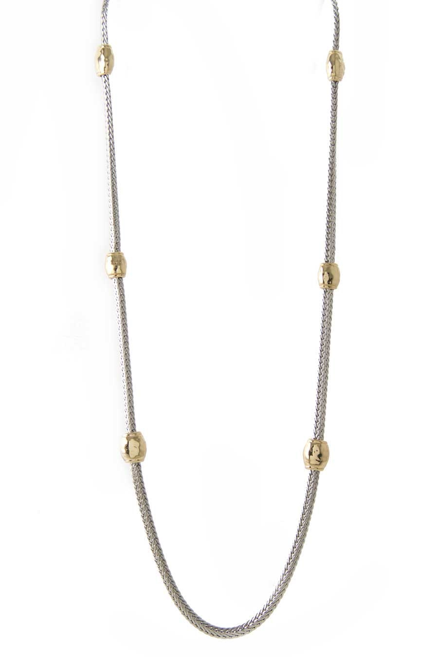 TWO TONE CASTING LONG NECKLACE - orangeshine.com