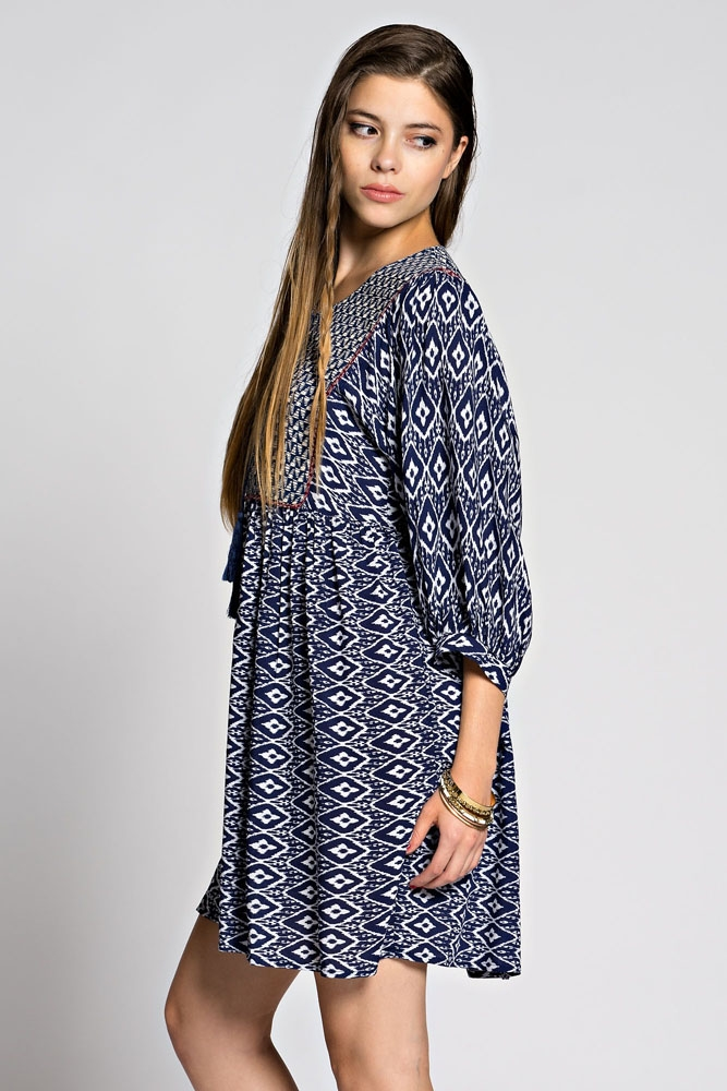 3/4 SLV CONTRAST PRINT DRESS - orangeshine.com
