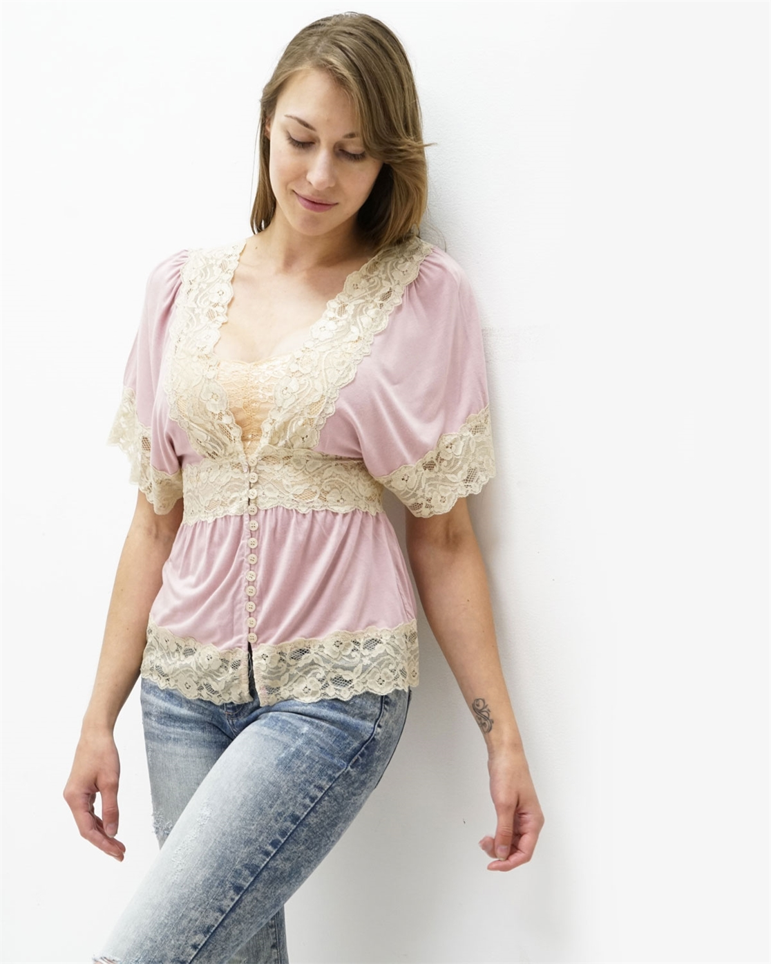 PINK LACE TRIMED TOP  - orangeshine.com