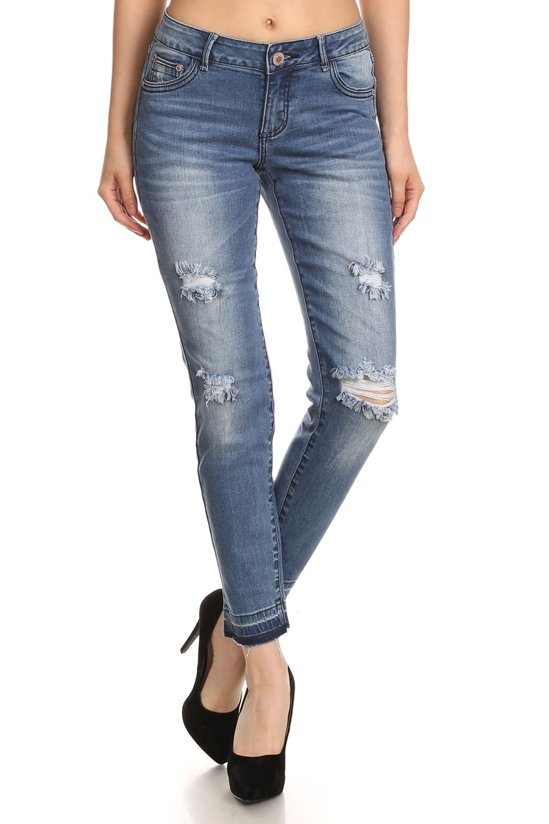 DISTRESSED COTTON JEANS ACP728 - orangeshine.com