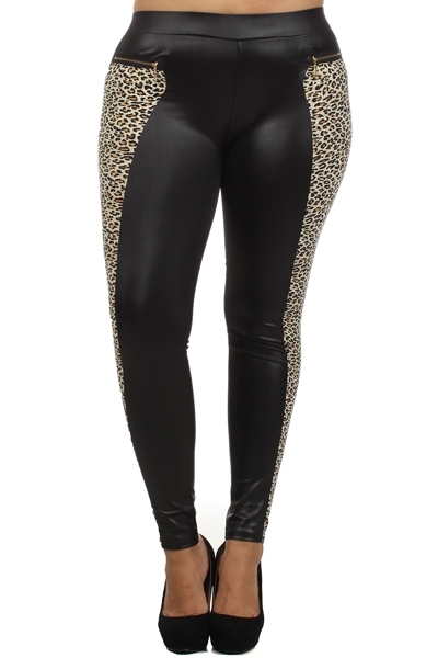 Plus Size Faux Leather pants - orangeshine.com