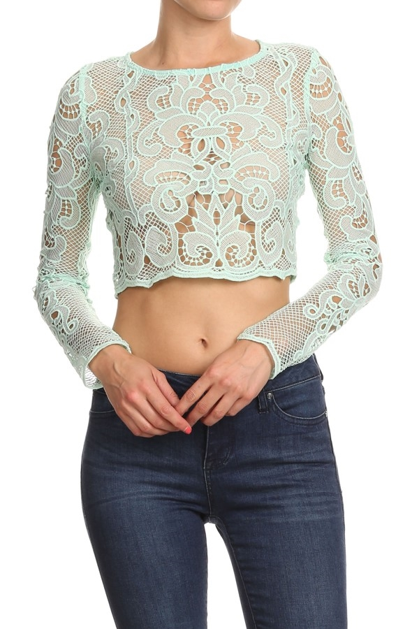 Lace long sleeve fitted crop - orangeshine.com