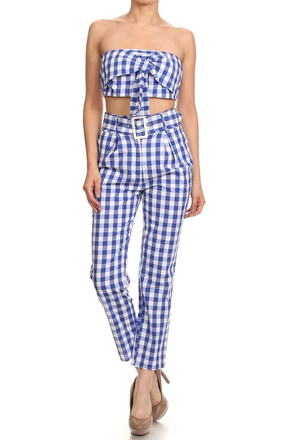Gingham Print 2-piece Set - orangeshine.com