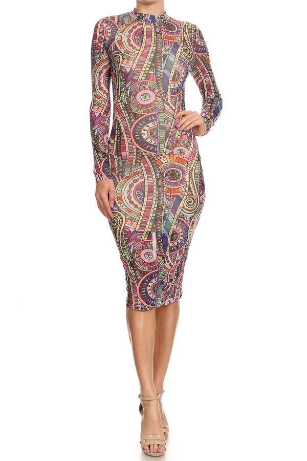 Multi-color Ornate Print Dress - orangeshine.com