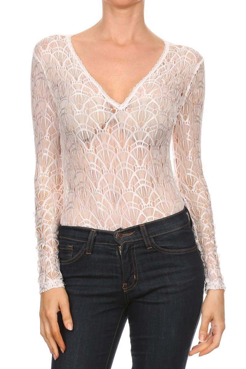 Lace long sleeve fitted body - orangeshine.com