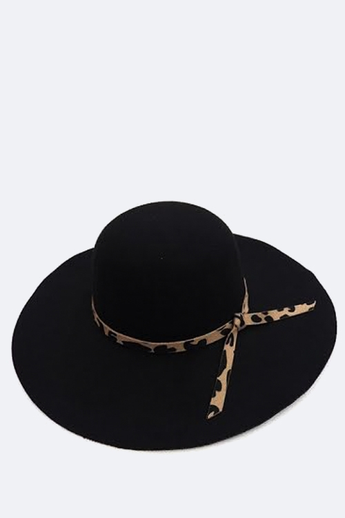 Leopard Ribbon Floppy Hat - orangeshine.com