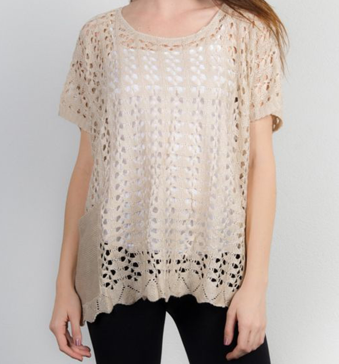 Beige Crochet Tunic W/ Pocket - orangeshine.com