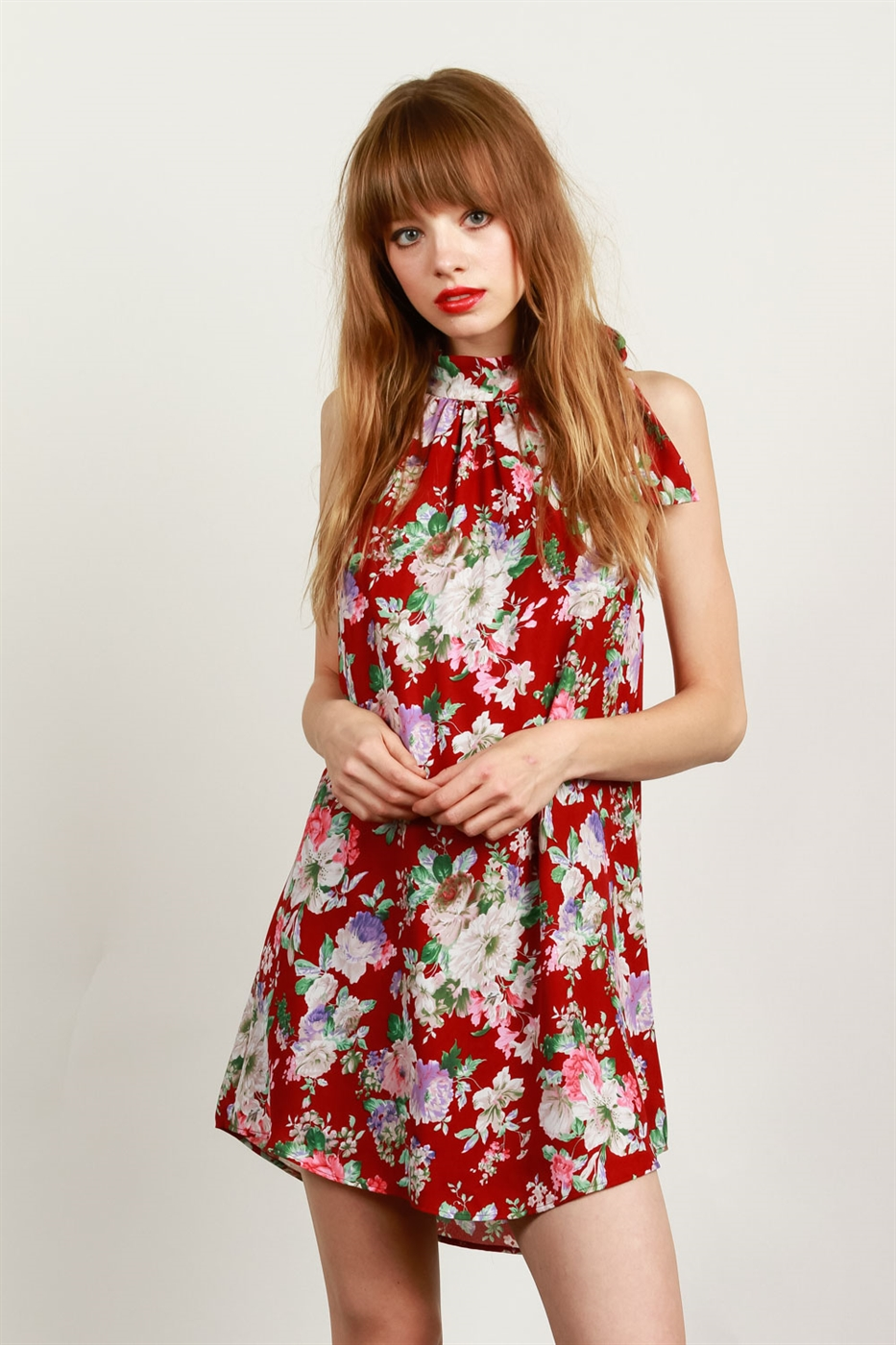 SELF-TIE NECKLINE FLORAL DRESS - orangeshine.com
