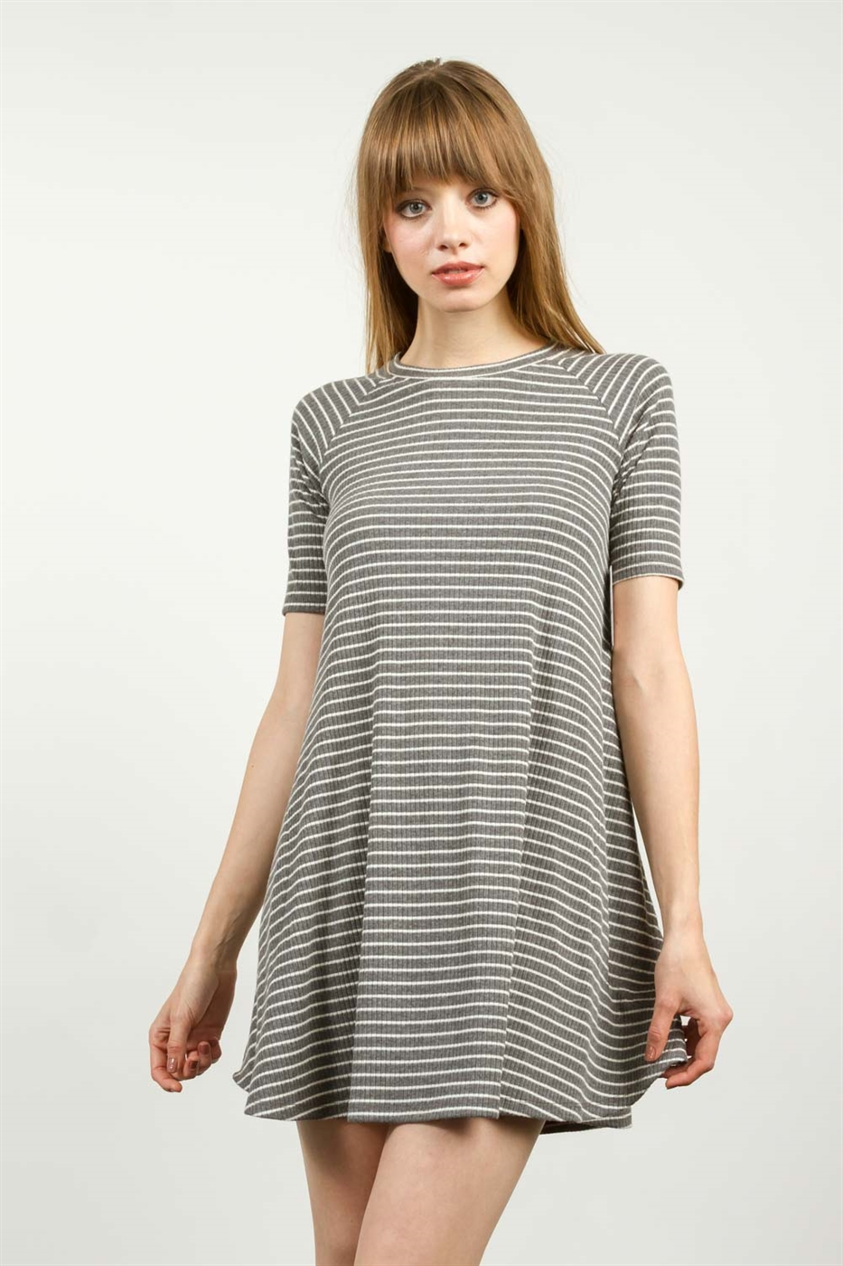 STRIPED TRAPEZE KNIT DRESS - orangeshine.com