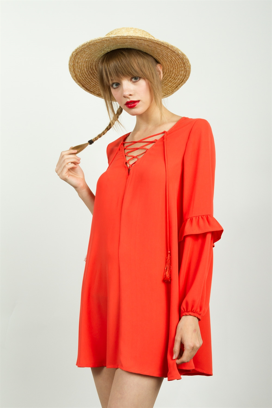 TASSEL LACE UP A-LINE DRESS - orangeshine.com