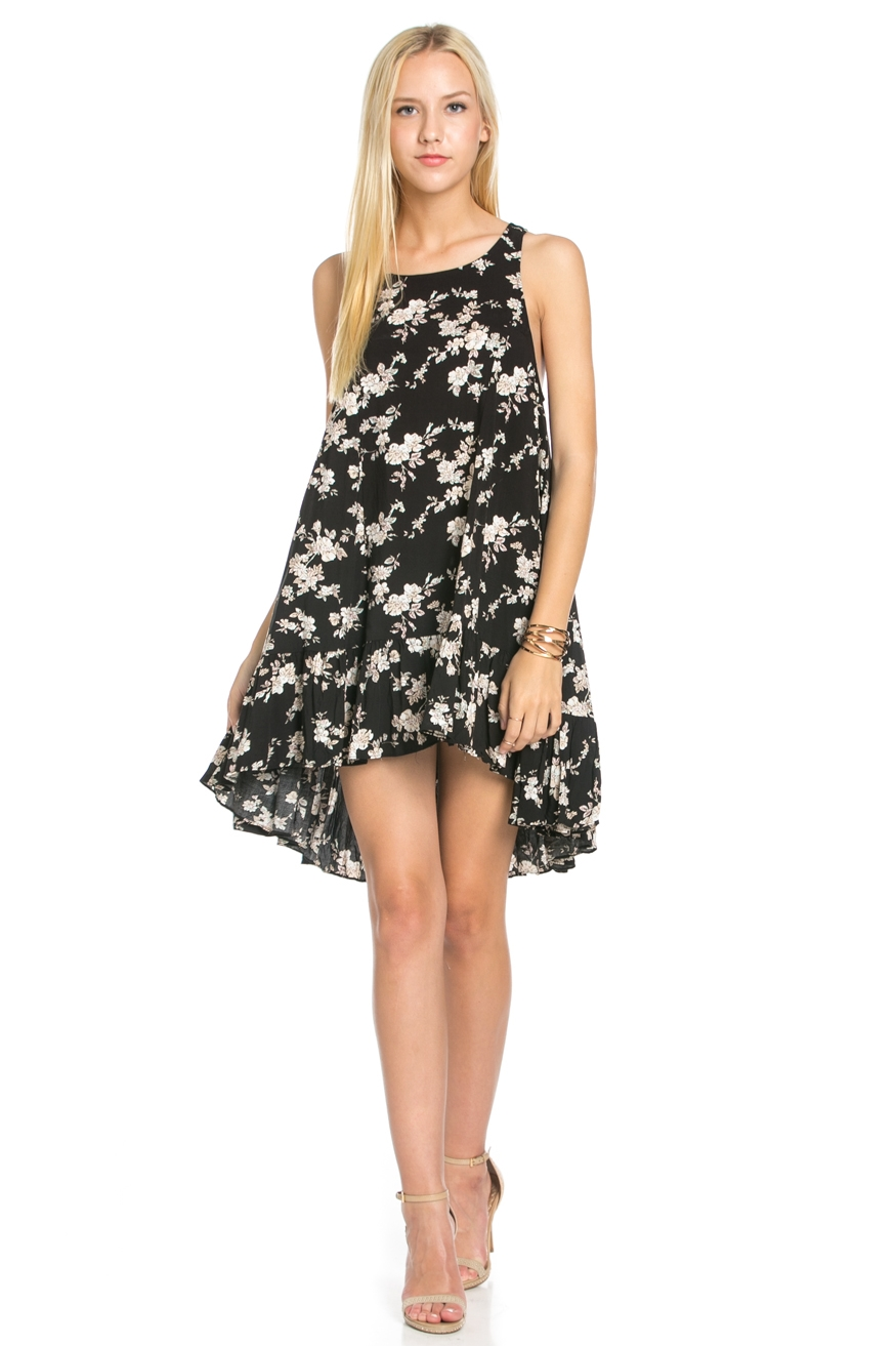 Black Floral Print Dress - orangeshine.com