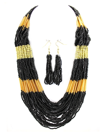 Black Seed Bead Necklace - orangeshine.com