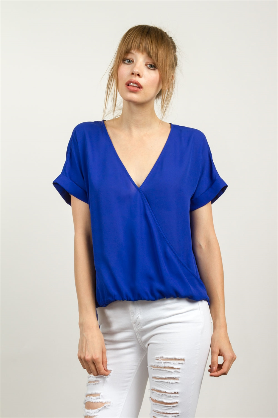 SURPLICE V-NECK BLOUSE - orangeshine.com