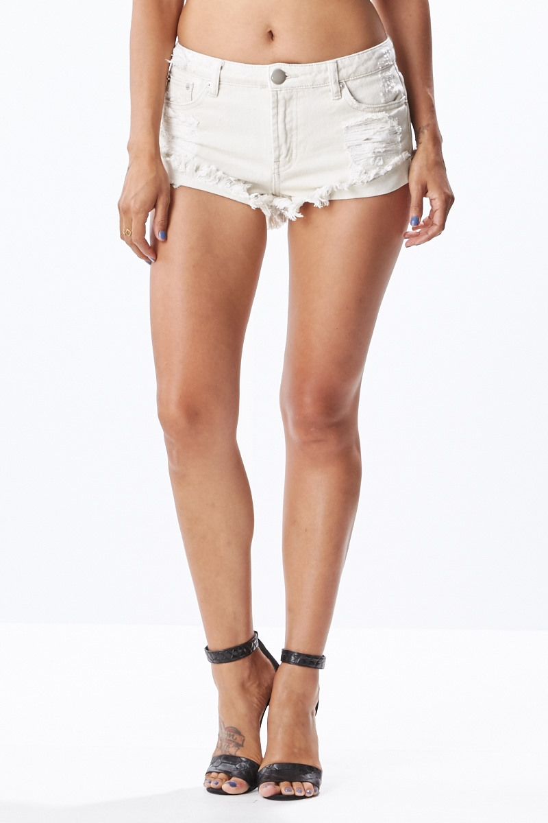 Denim Cut Out Shorts - orangeshine.com