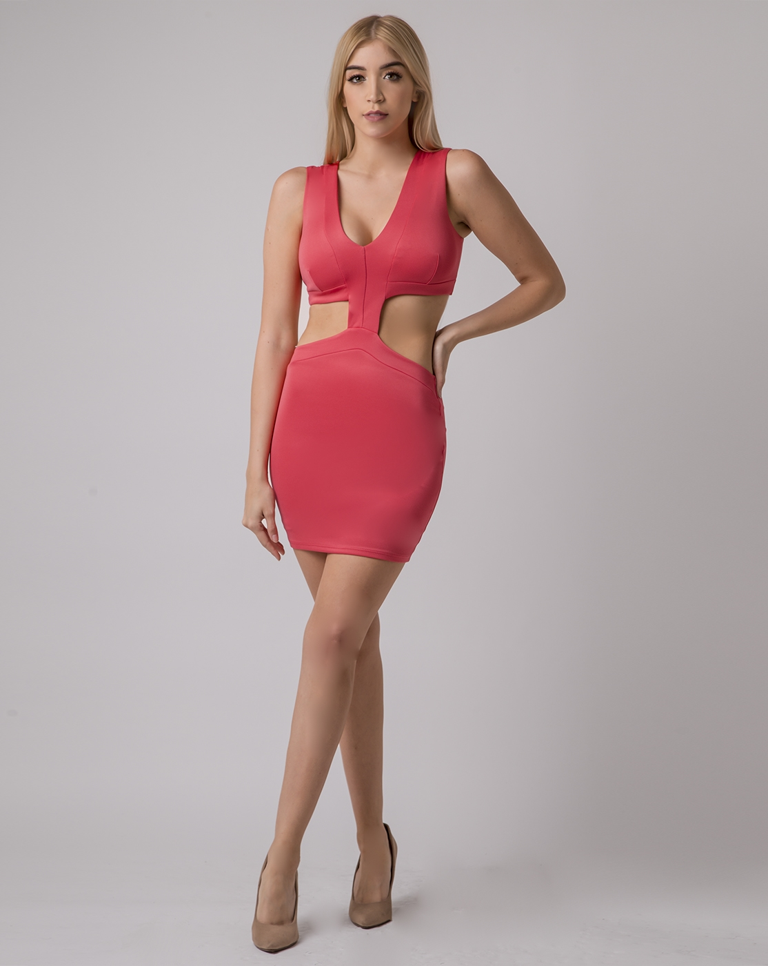 DEEP V SIDE CUT DRESS - orangeshine.com