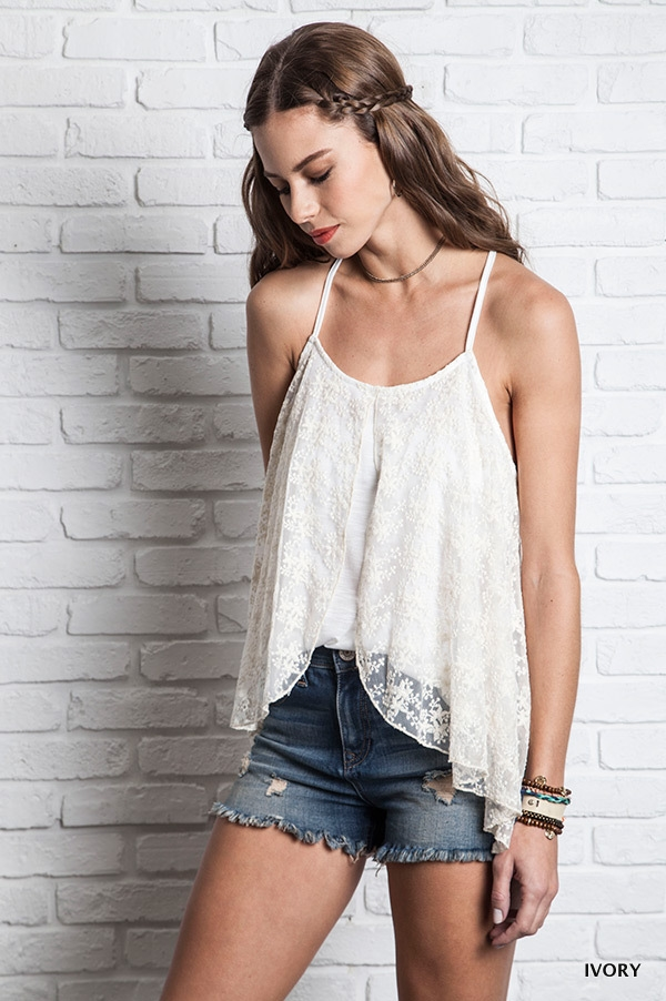 DUAL LAYERED LACE TANK - orangeshine.com