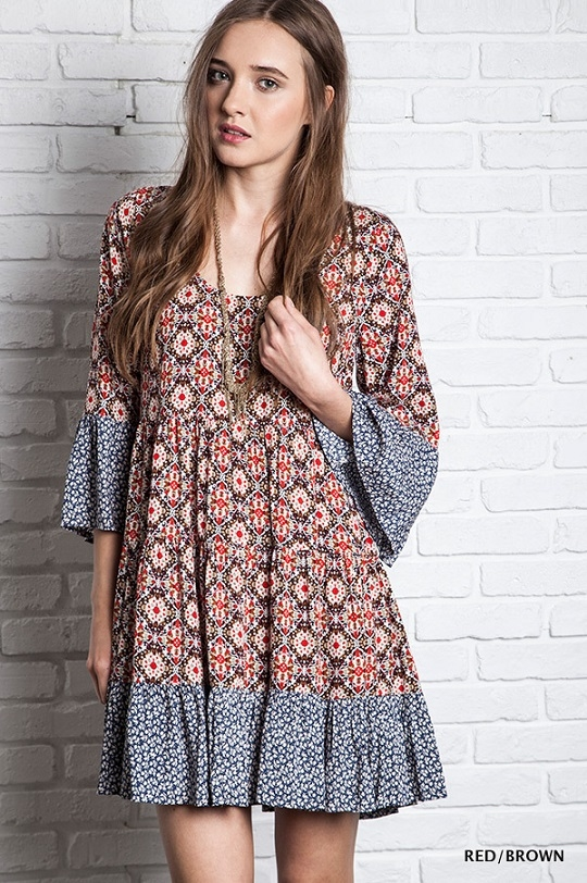 BOHO FLORAL BELL SLEEVE DRESS - orangeshine.com