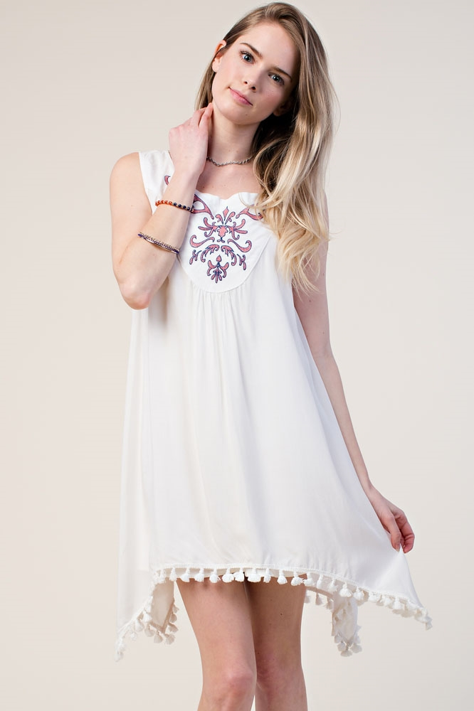 EMBROIDERED TASSEL TANK DRESS - orangeshine.com