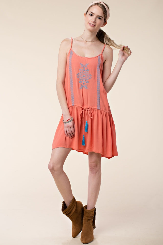 EMBROIDERED TIE WAIST TUNIC - orangeshine.com