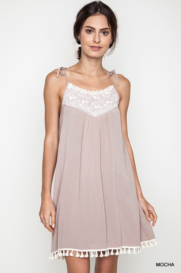 TANK DRESS WITH LACE DETAIL - orangeshine.com