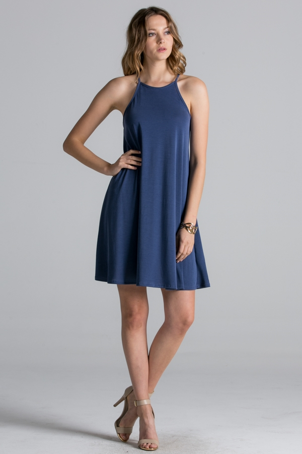 Solid Trapeze Cami Dress - orangeshine.com