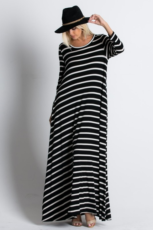 Striped MAXI DRESSES - orangeshine.com