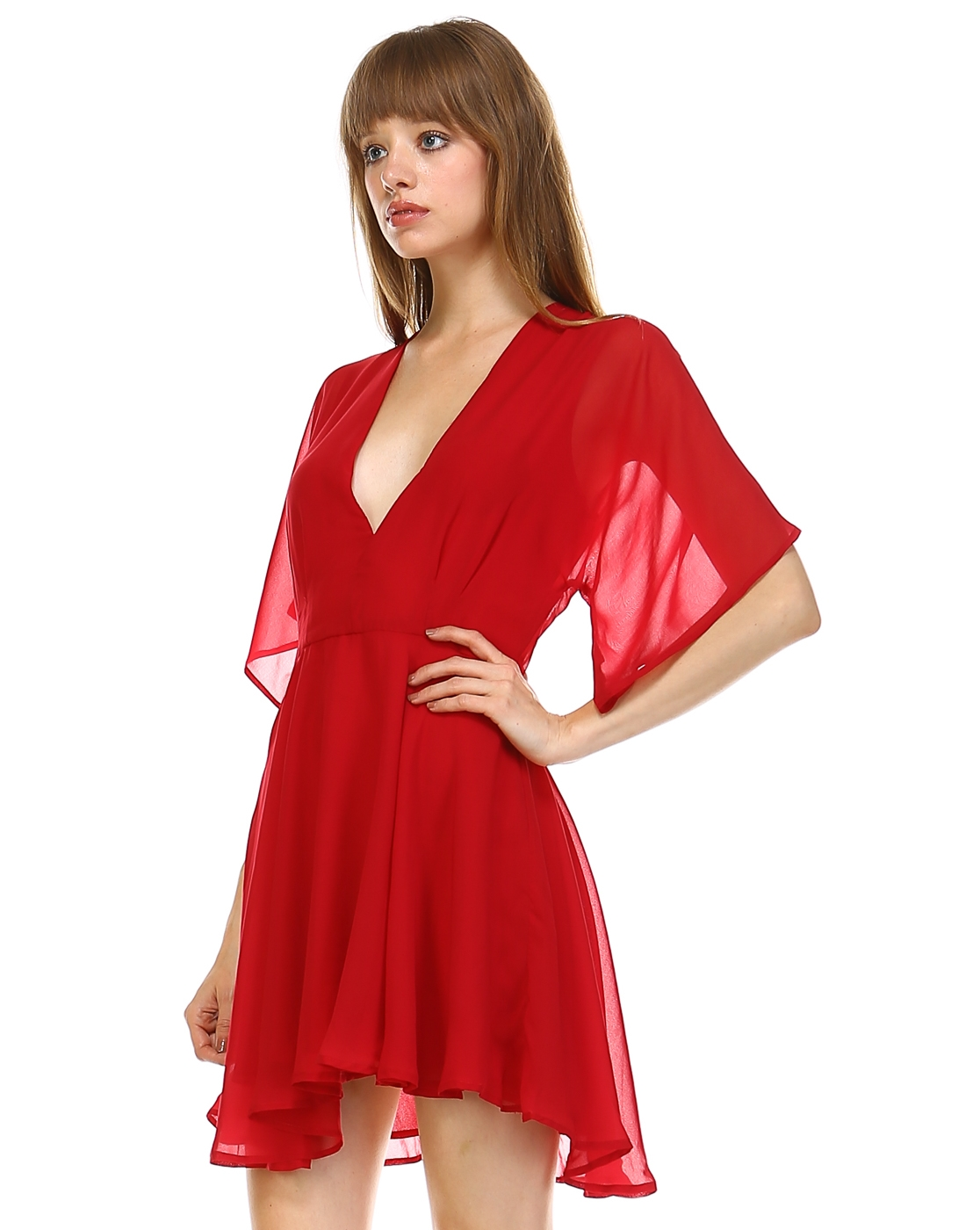 DEEP V-NECK CHIFFON DRESS - orangeshine.com