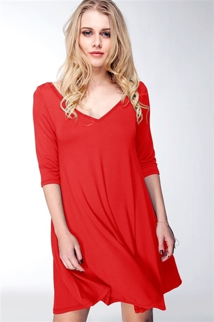 V-NECK SWING DRESS - orangeshine.com