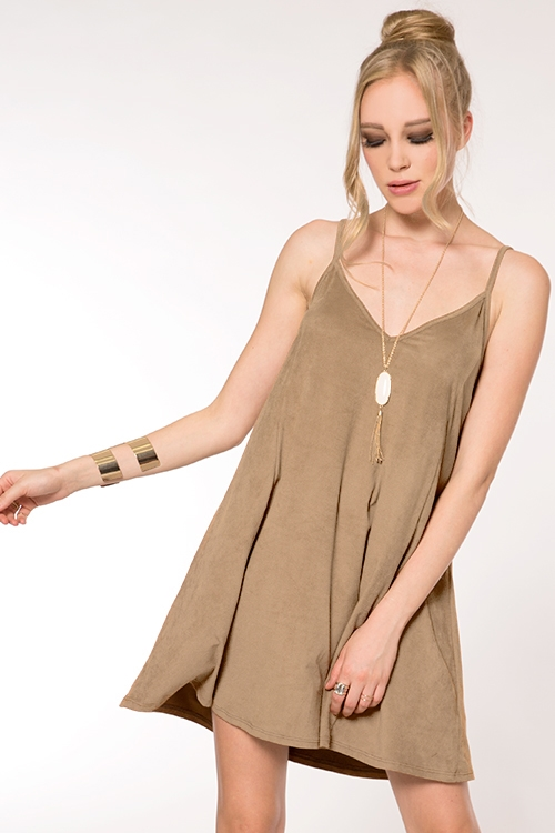 FAUX SUEDE SWING DRESS - orangeshine.com