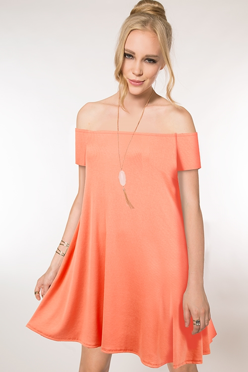 OFF SHOULDER SWING DRESS - orangeshine.com