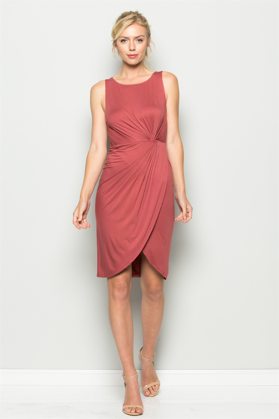 TEXTURED KNOT DRESS - orangeshine.com