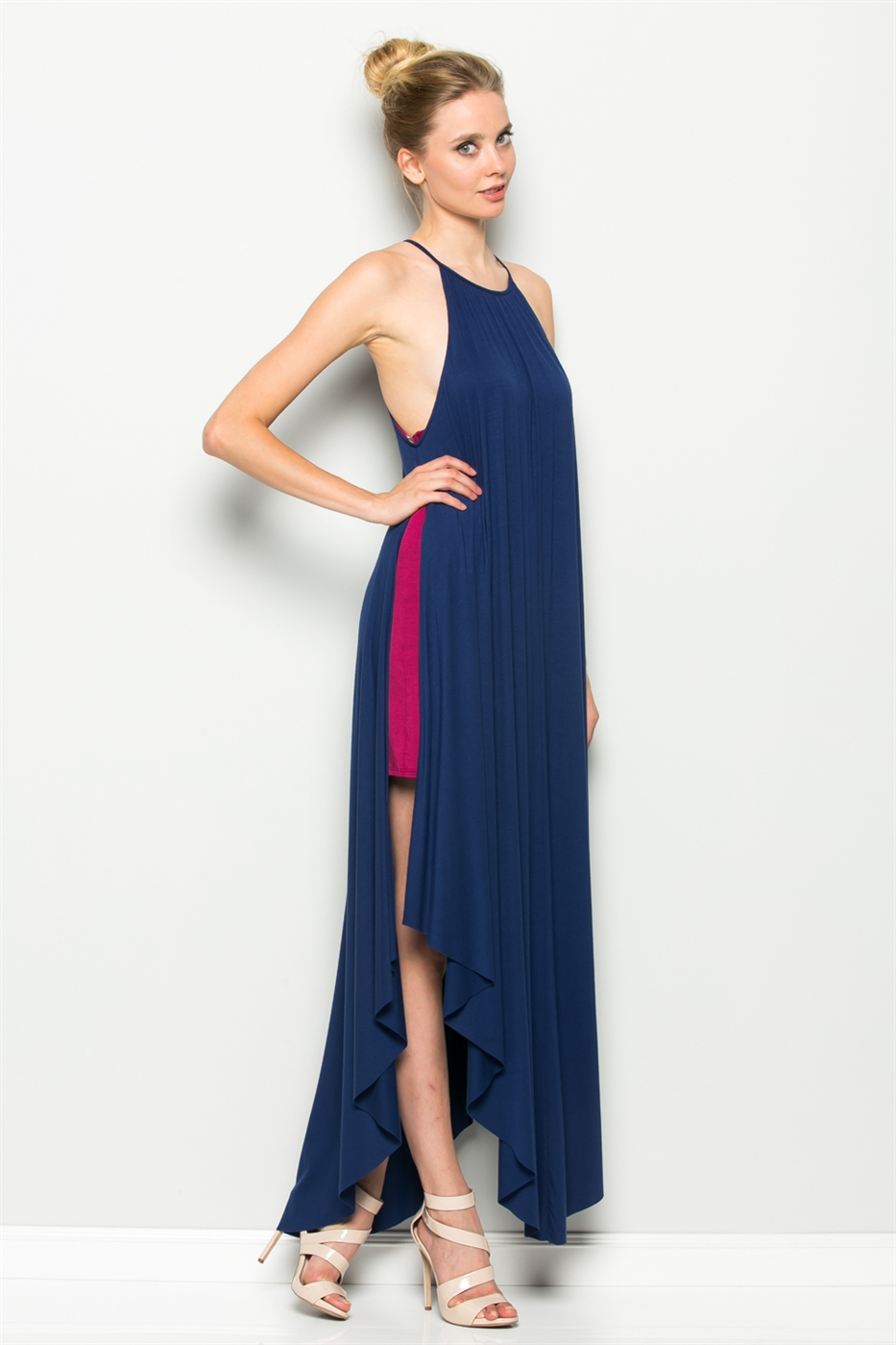 INSET SIDE SLIT MAXI DRESS - orangeshine.com