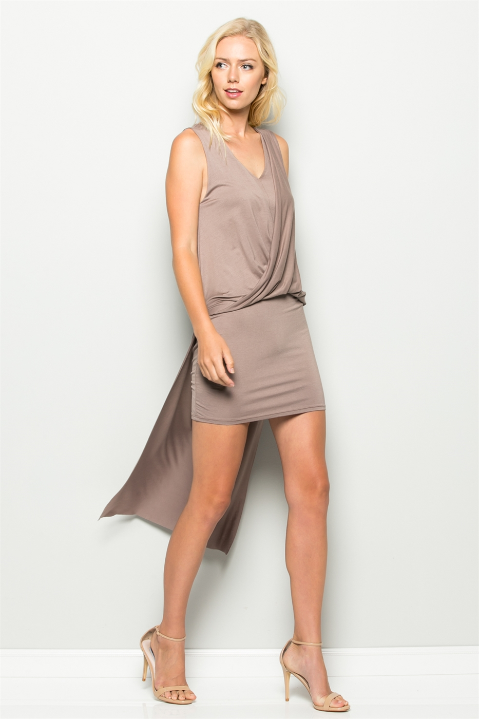 DRAPED FRONT DRESS - orangeshine.com