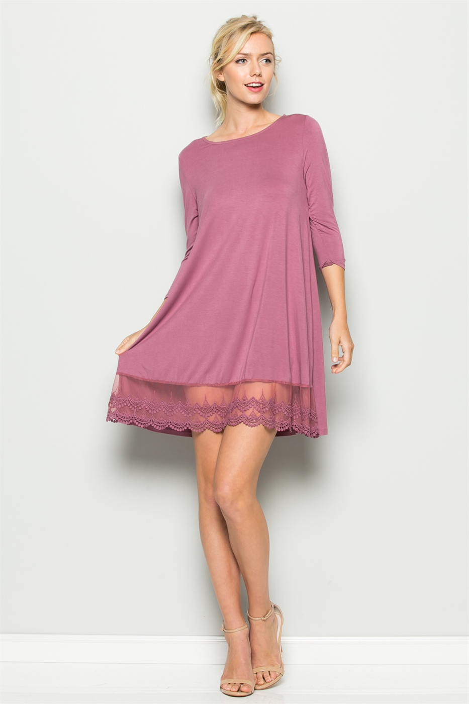 LACE HEM SCOOP NECK DRESS - orangeshine.com