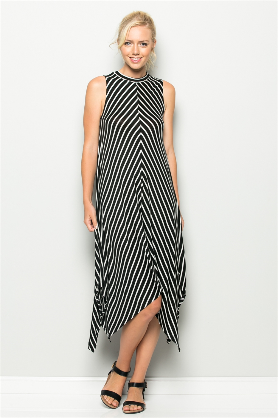 STRIPED MIDI DRESS - orangeshine.com