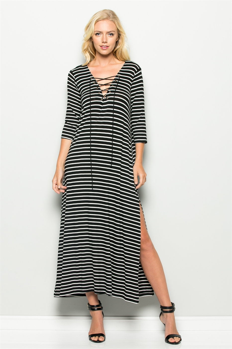 SIDE SLIT STRIPED MAXI DRESS - orangeshine.com