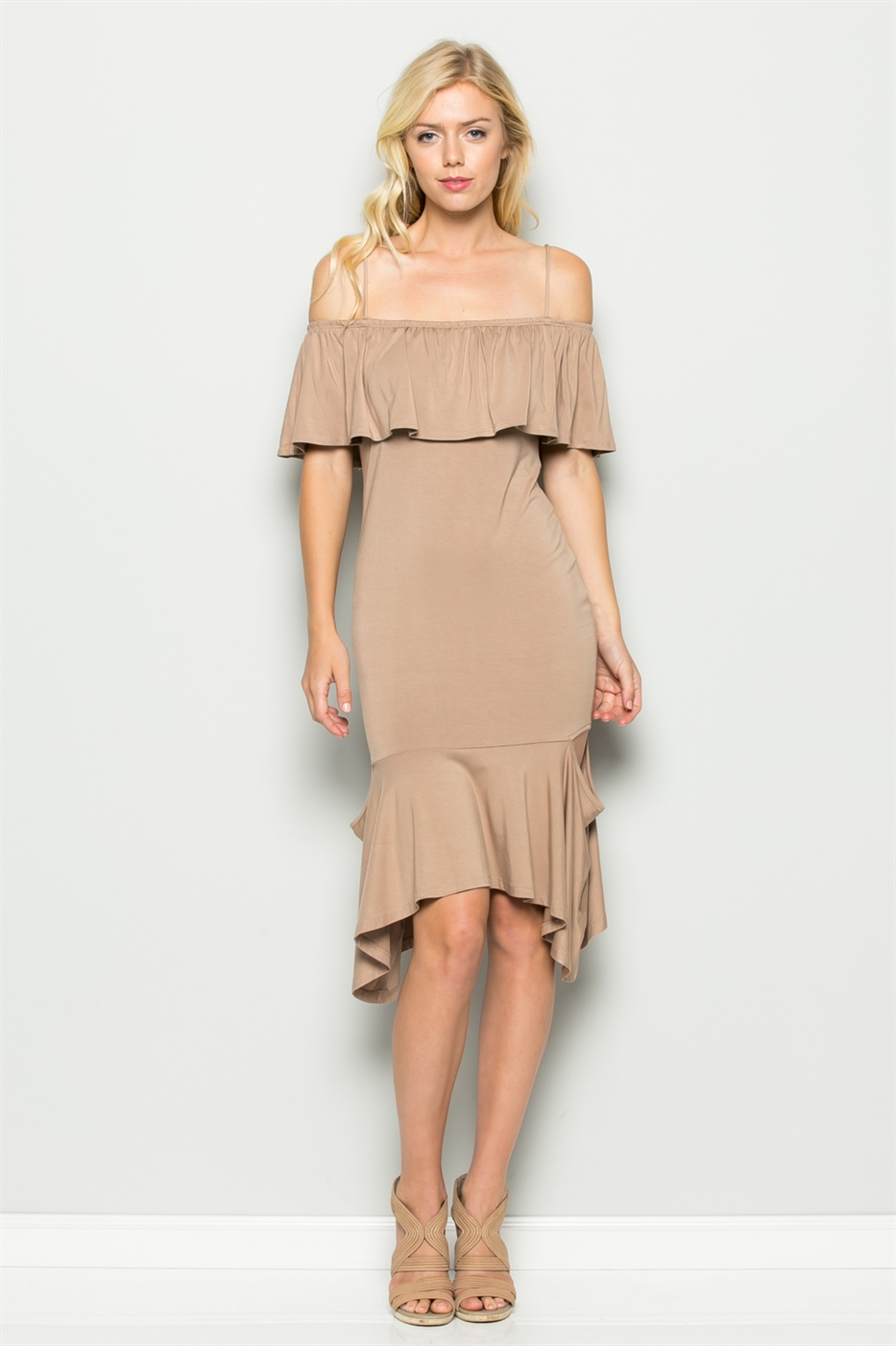 CUT OUT RUFFLE DRESS - orangeshine.com