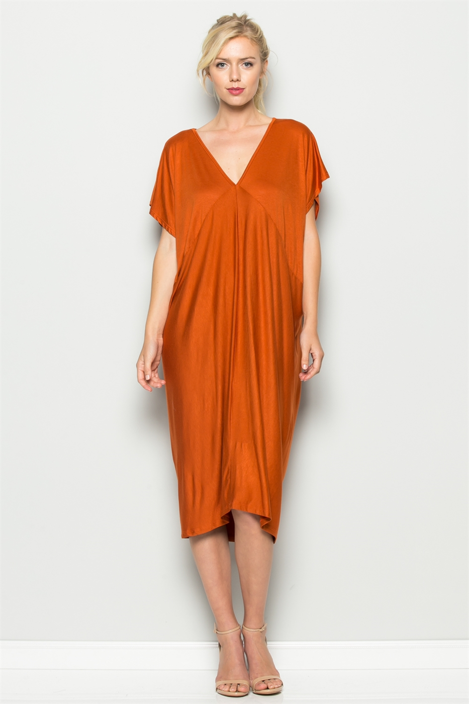 V-NECK MIDI DRESS - orangeshine.com